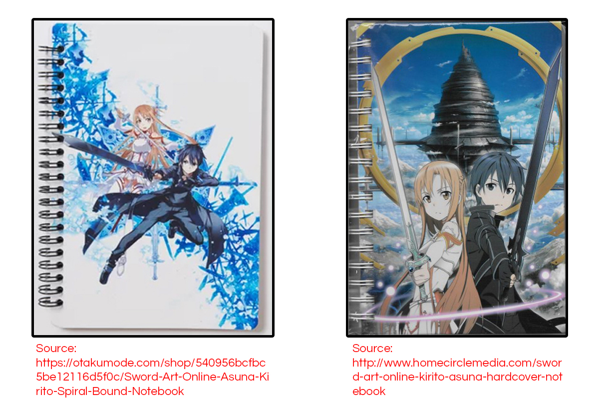 Two examples of legit Sword Art Online notebooks