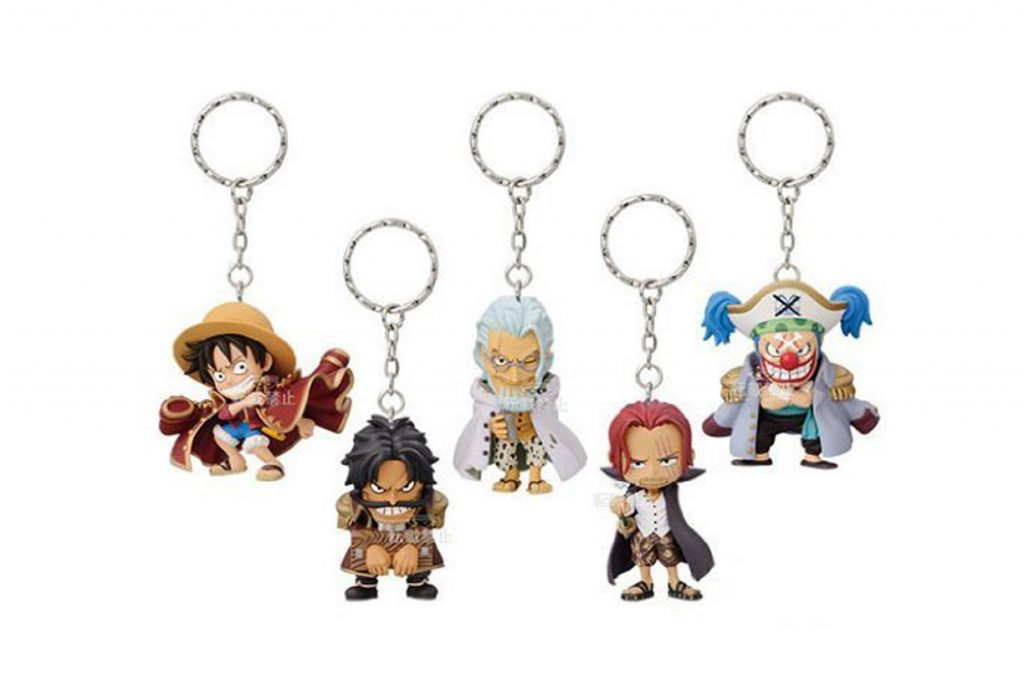 Five One Piece keychains from Banpresto, including Luffy and other characters