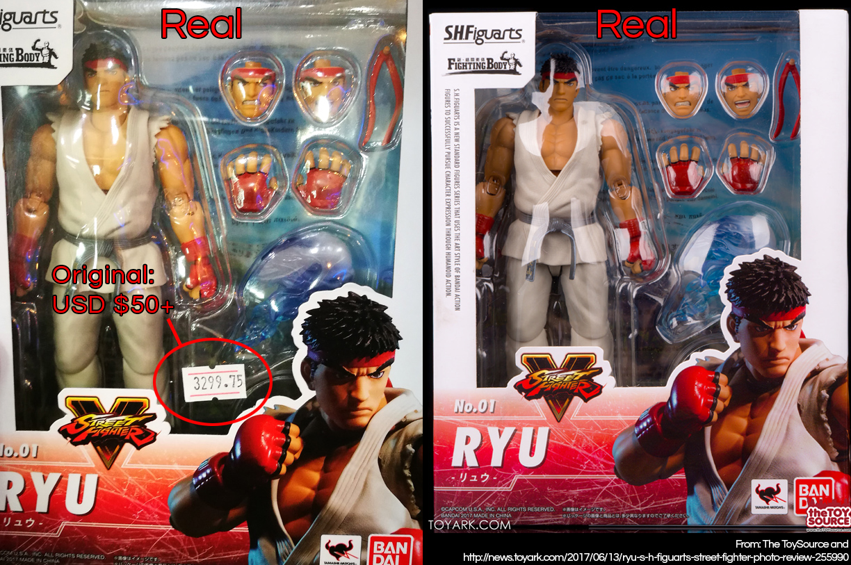 Two examples of the front packaging of the official S.H. Figurarts Ryu figure, with the price tag pointed out