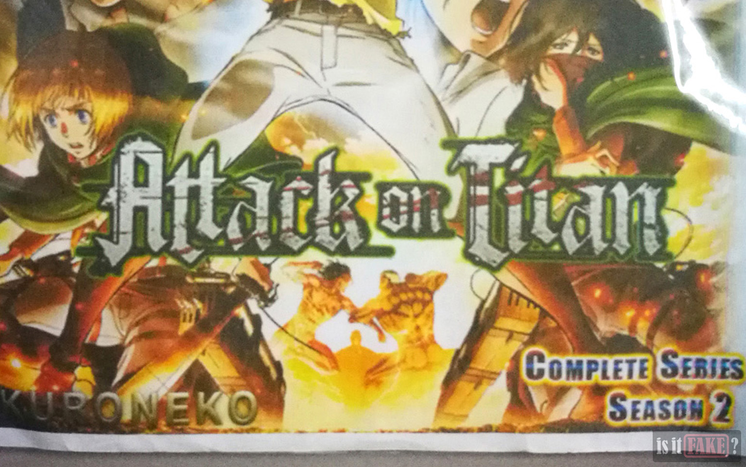 A close-up of the Attack on Titan logo on the front.
