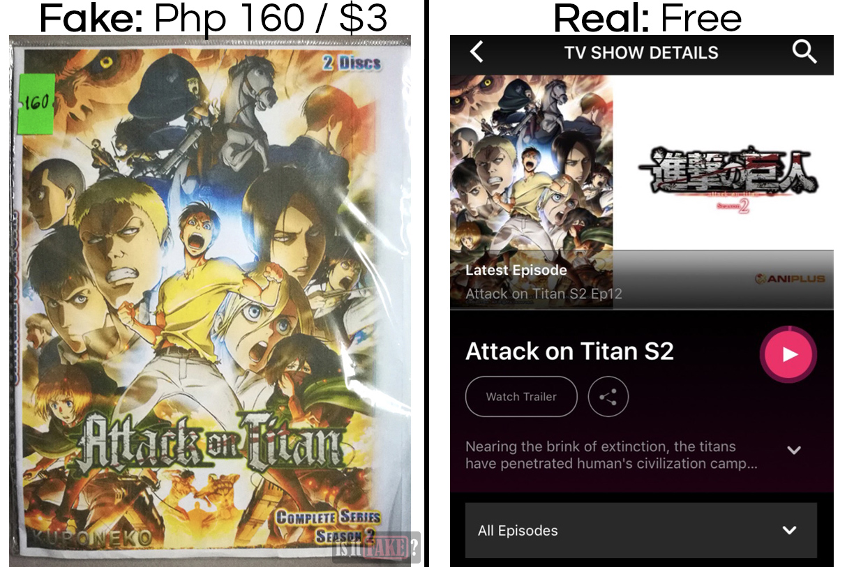 Fake Attack on Titan S2 vs. official Attack on Titan S2 on Tribe, with difference in prices shown