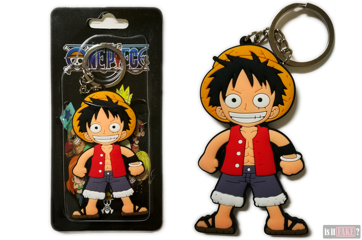 Fake One Piece Luffy keychain in packaging and out of packaging