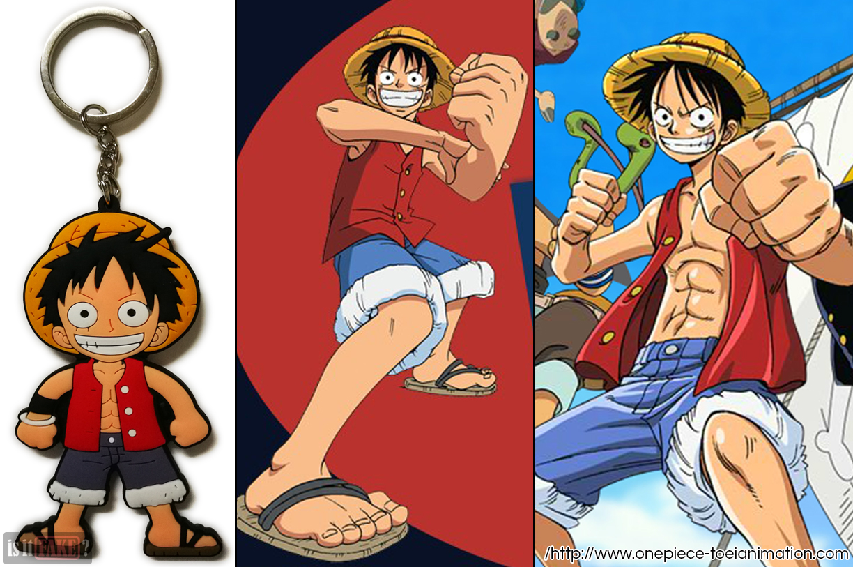 The fake One Piece Luffy keychain, out of its packaging, next to two images of Luffy from Toei Animation Studios