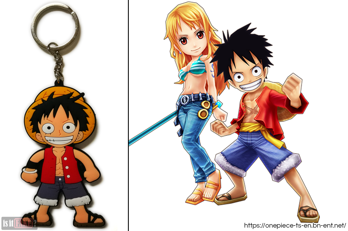 The fake One Piece Luffy keychain, out of its packaging, next to an image of Luffy from the One Piece Thousand Storm game