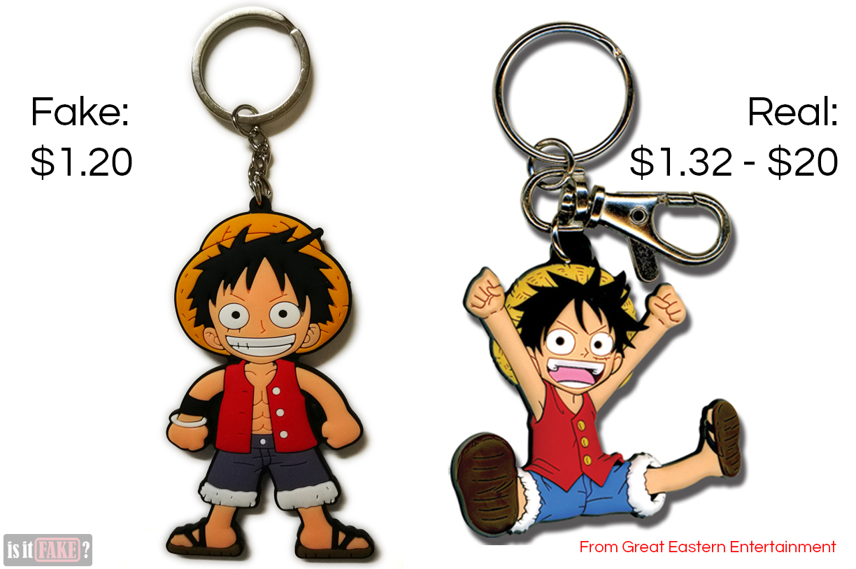 A side by side comparison between the fake One Piece Luffy keychain and Great Eastern Entertainment's One Piece Luffy keychain
