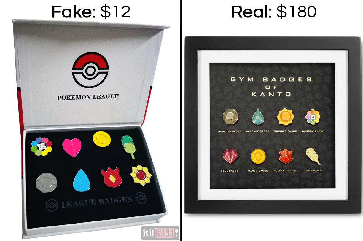 Fake vs. official Pokemon gym badge sets, showing difference in prices