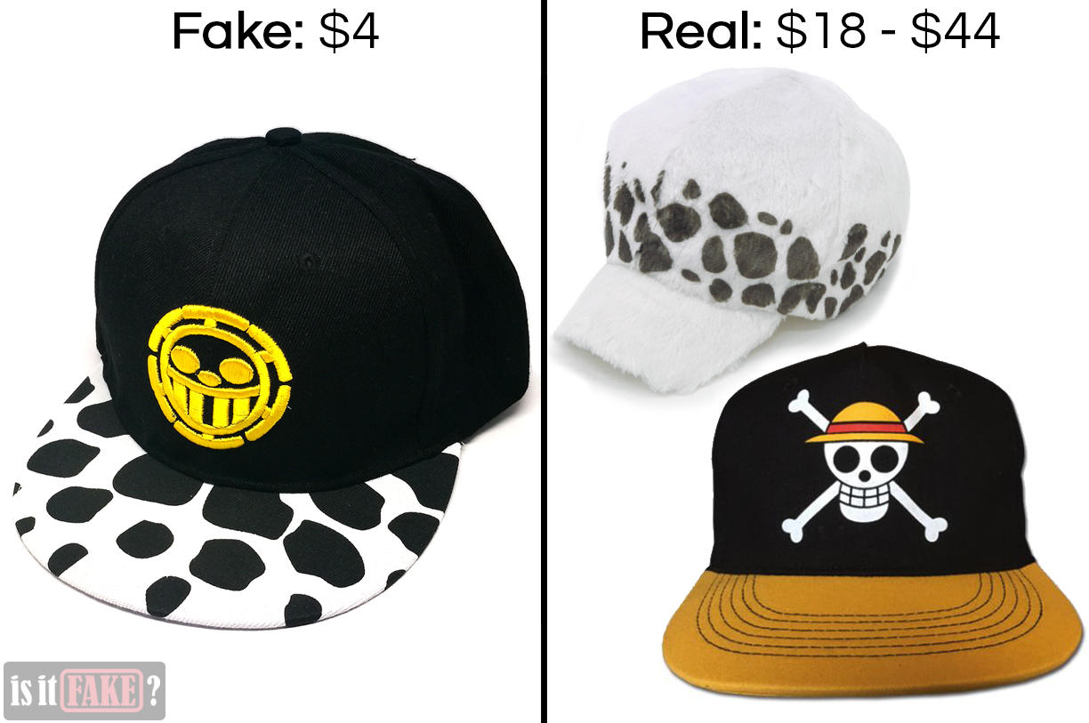 Fake One Piece sports cap vs. Official One Piece headwear, with difference in prices shown