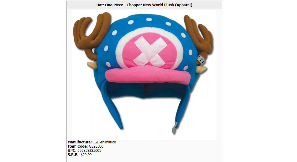 Great Eastern Animation's official One Piece Chopper hat
