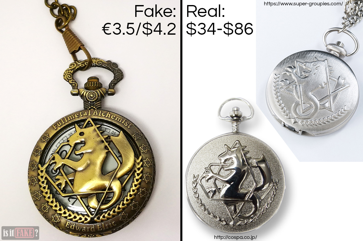 Side-by-side comparison between fake Fullmetal Alchemist pocket watch and official Fullmetal Alchemist pocket watches from Cospa and SuperGroupies, with difference in prices shown