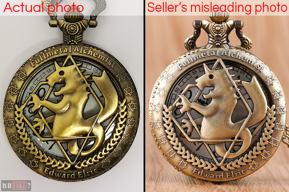Side-by-side comparison between fake Fullmetal Alchemist pocket watch and pocket watch as featured in seller's photo