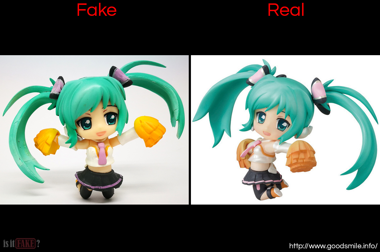 A side-by-side comparison between a fake Nendoroid Petite Hatsune Miku figure, and an official one from Good Smile Company