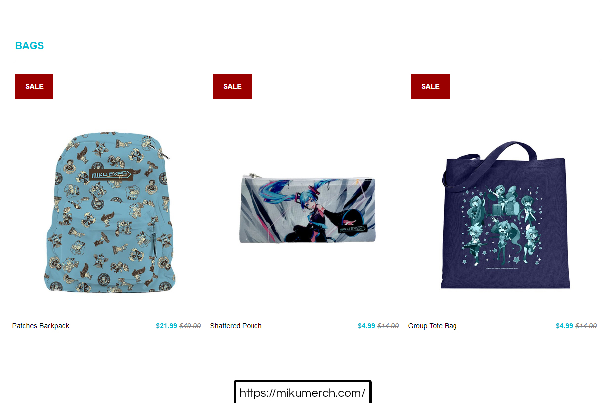 2 official Hatsune Miku bags and wallet on MikuMerch.com