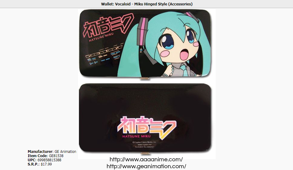 Official Great Eastern Animation Hatsune Miku wallet on AAA Anime