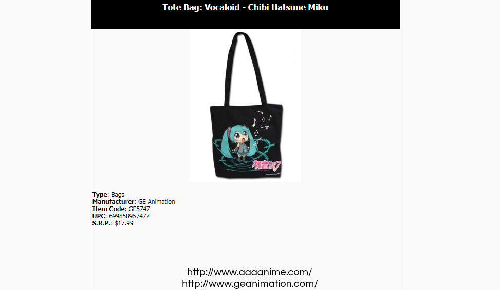Official Great Eastern Animation Hatsune Miku bag on AAA Anime