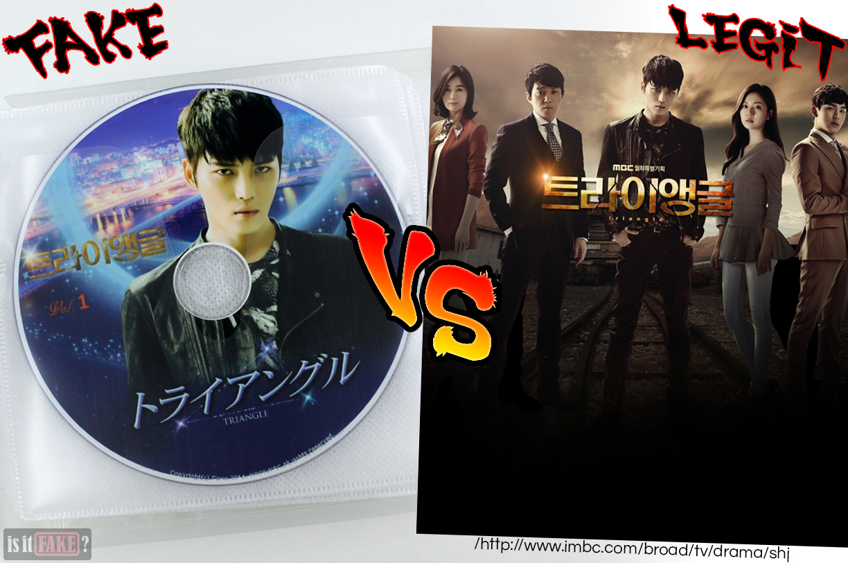 Side-by-side comparison between fake Triangle DVD and official Triangle series on VOD