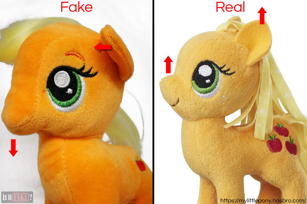 Fake vs. real My Little Pony: Friendship is Magic Applejack plush dolls, showing difference in head shape