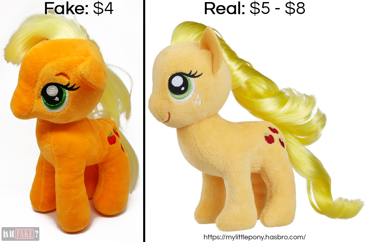 Fake vs. official My Little Pony: Friendship is Magic Applejack plush dolls, with difference in prices shown