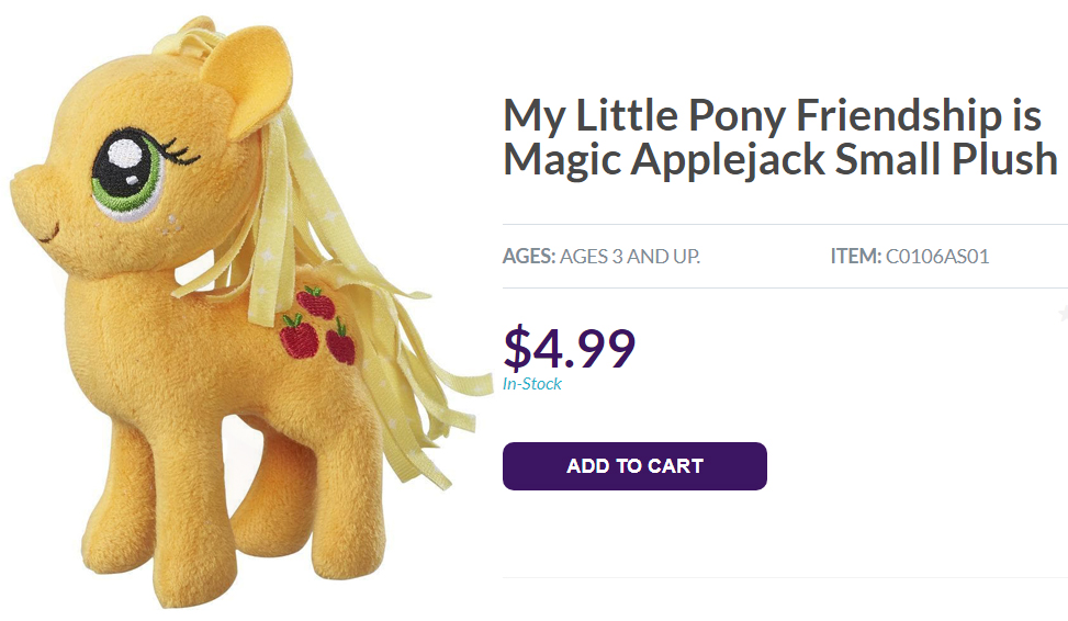 Official My Little Pony: Friendship is Magic Applejack plush doll on Hasbro online store
