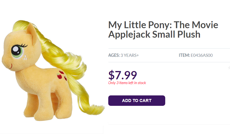 Official My Little Pony: Friendship is Magic Applejack movie version plush doll on Hasbro online store