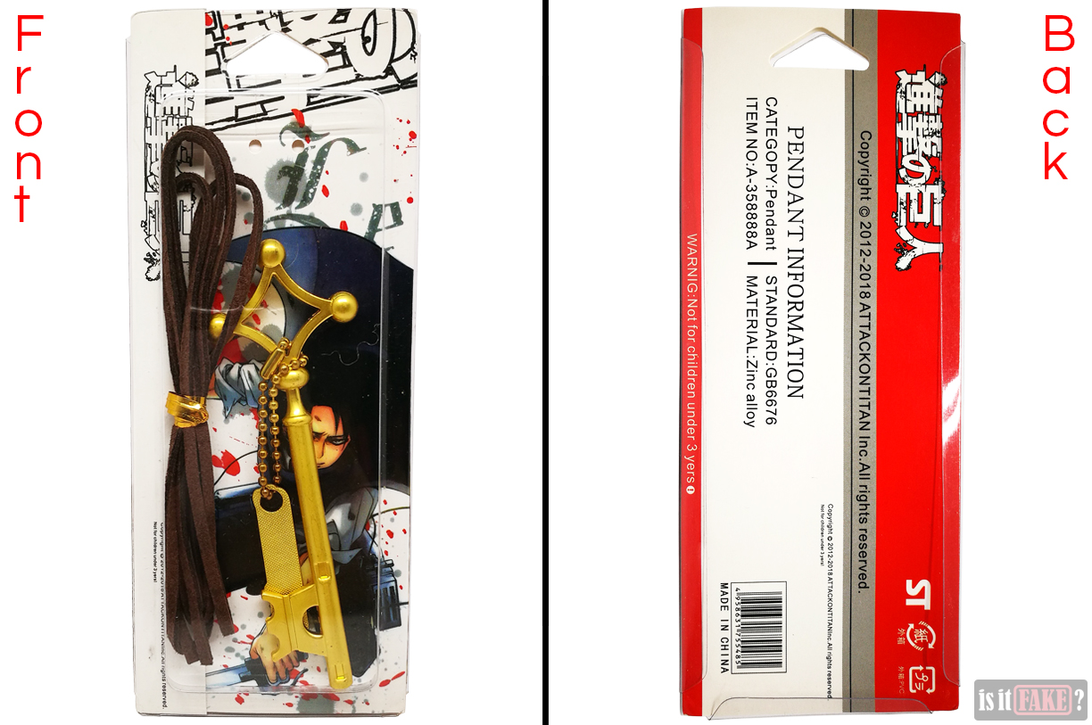 Front and back of fake Attack on Titan basement key pendant's packaging, in plastic shell