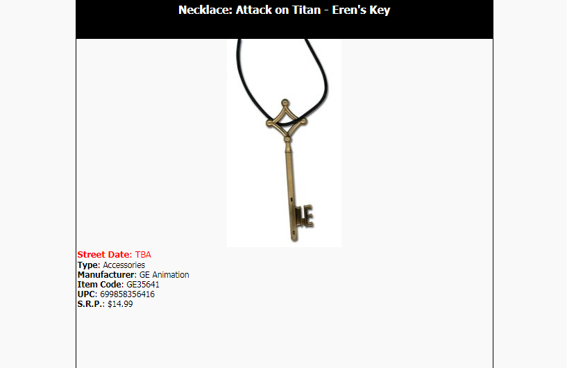 Official Great Eastern Animation Attack on Titan key pendant on AAA Anime