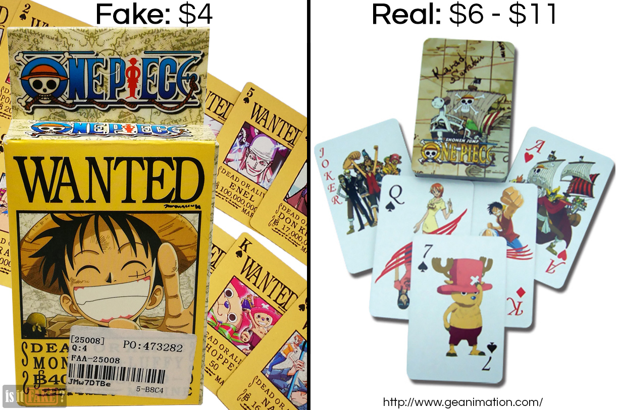Fake vs. official One Piece poker cards