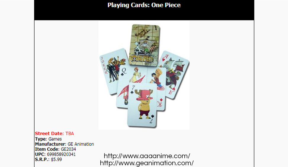 Official Great Eastern Animation One Piece playing cards on AAA Anime