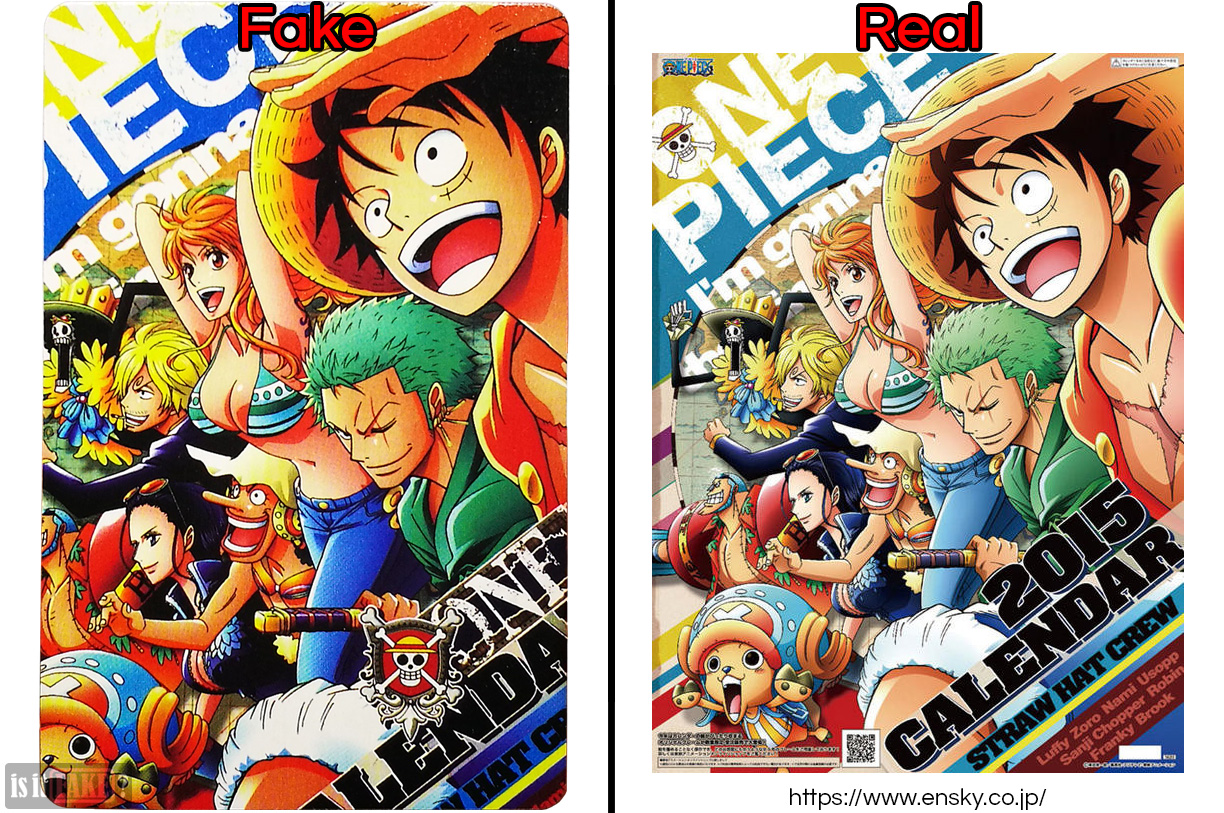 Art on back of fake One Piece poker cards vs. art on official One Piece calendar from Ensky