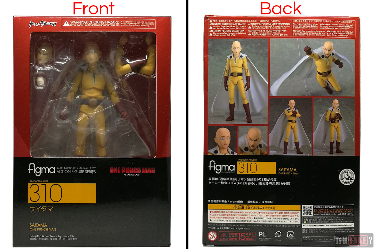 Fake Figma One Punch Man figure in box, front and back view