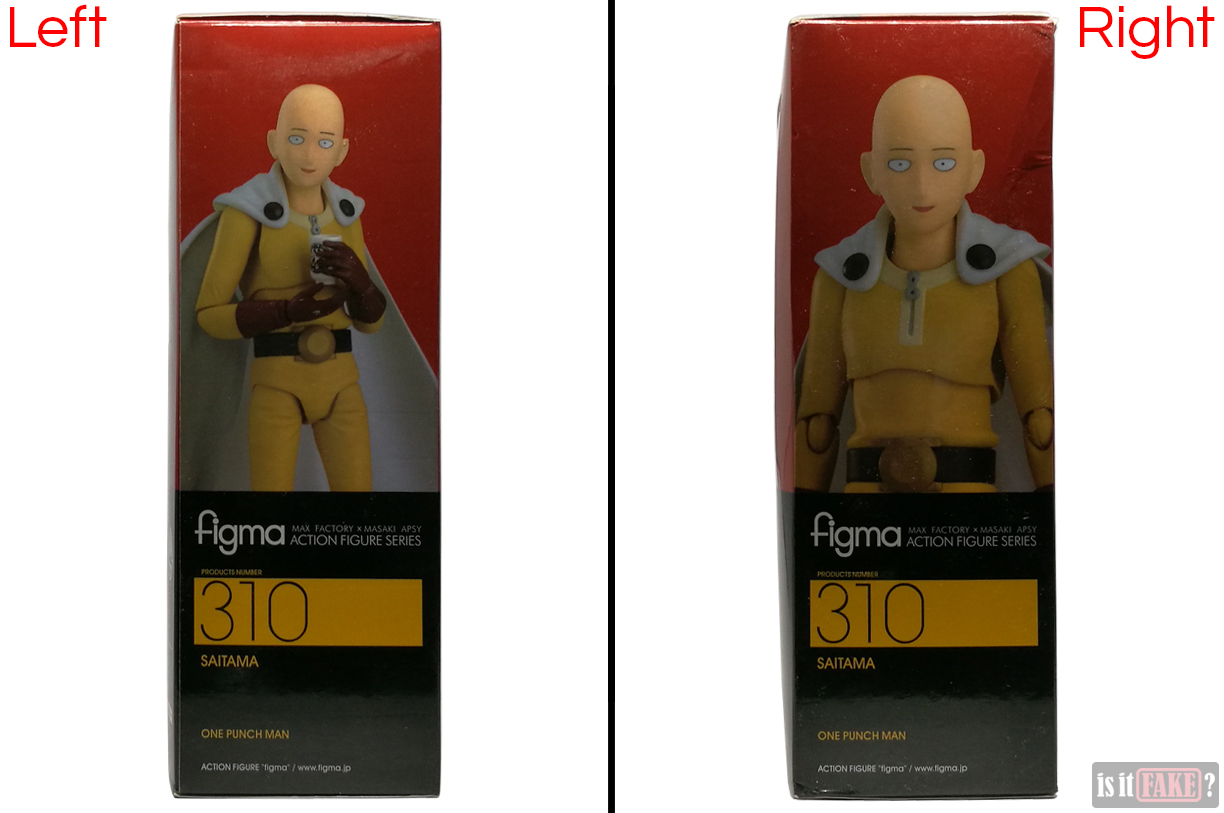 Fake Figma One Punch Man figure's box, side views