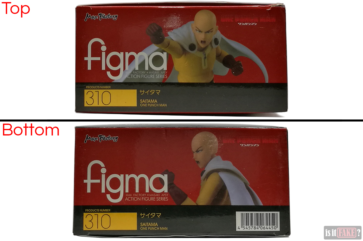 Fake Figma One Punch Man figure's box, top and bottom view