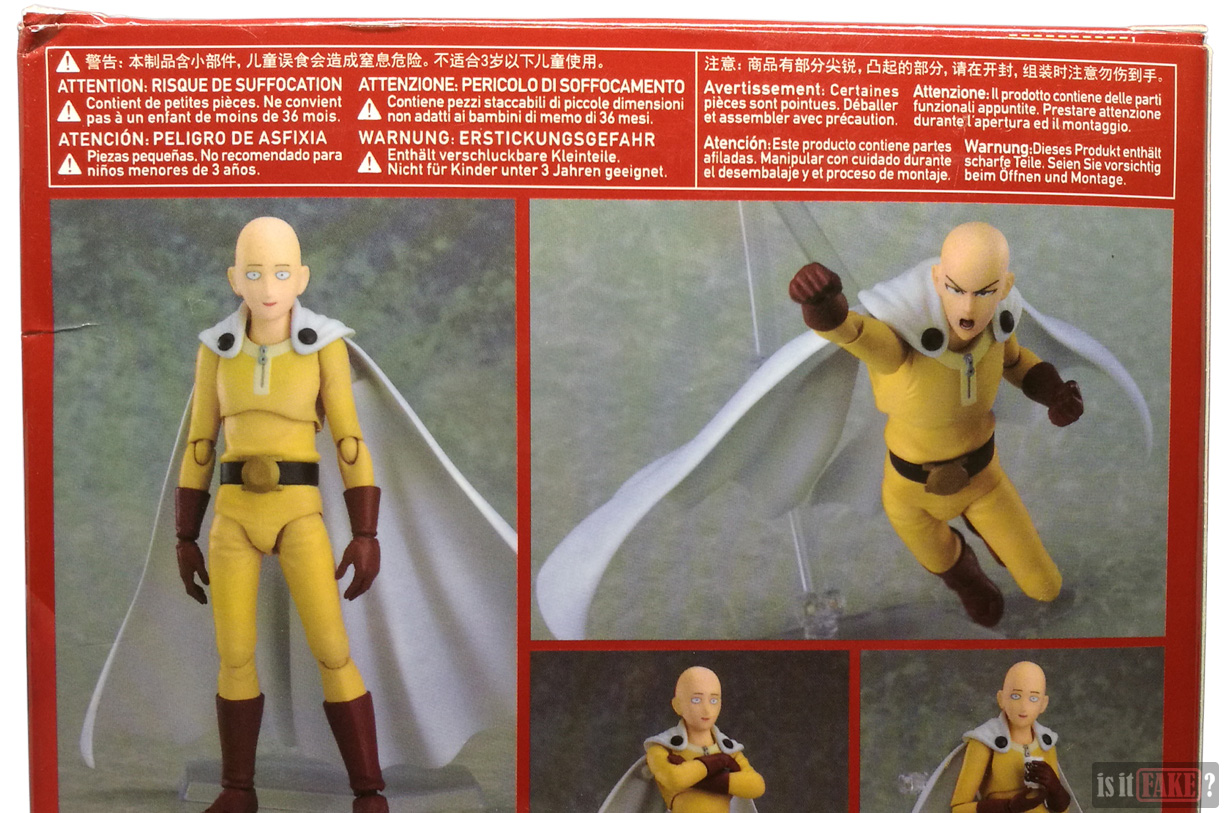Close-up of details on fake Figma One Punch Man figure's box, upper back