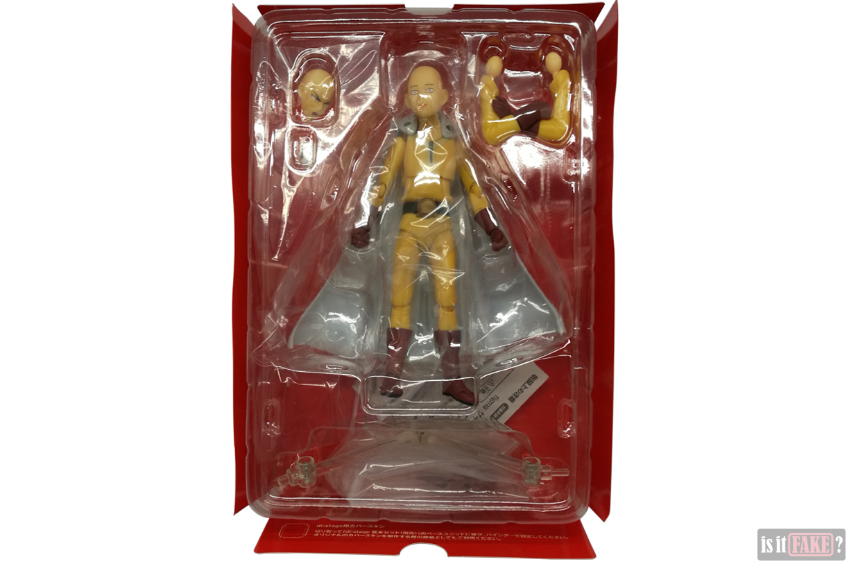 Fake Figma One Punch Man figure in interior cardboard and plastic packaging