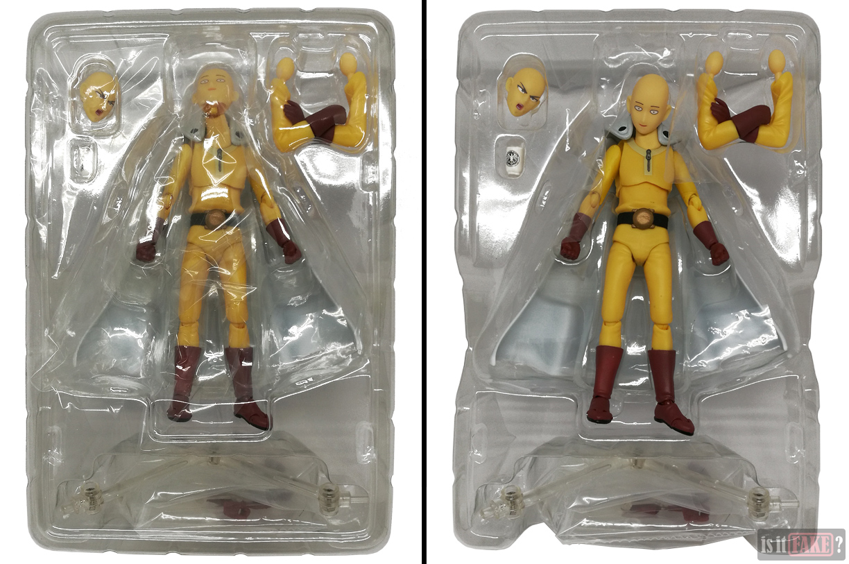 Fake Figma One Punch Man figure in interior plastic packaging