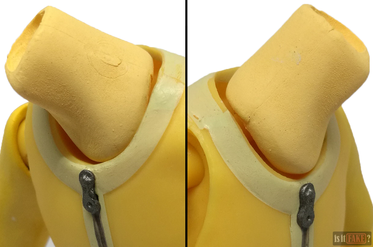 Close-ups of fake Figma One Punch Man figure's neck