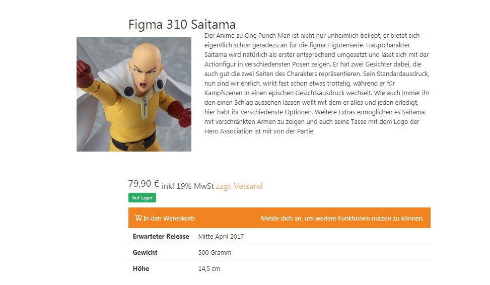 Official Figma 310 One Punch Man Saitama figure on Figuya