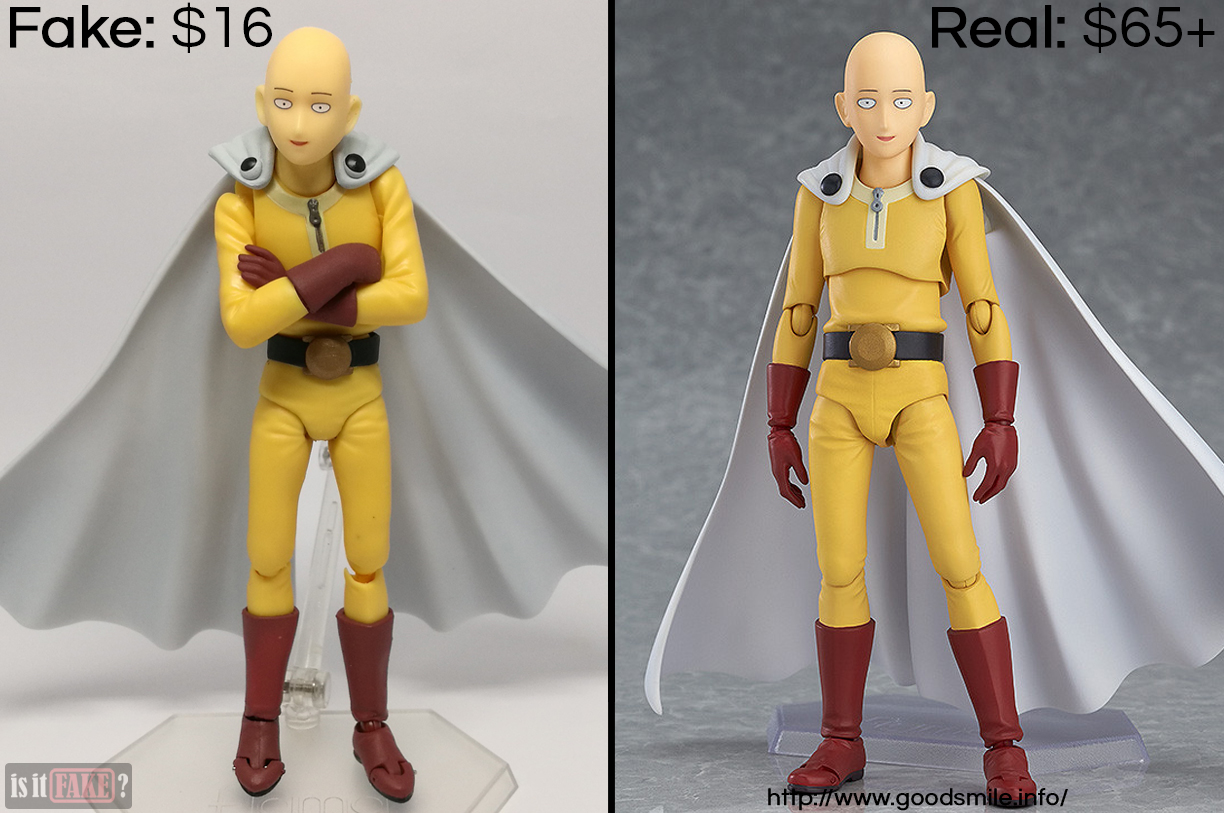 Fake vs. official Figma One Punch Man Saitama, with difference in prices shown