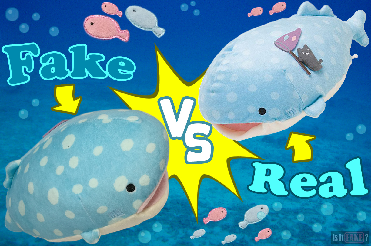 Fake vs. official San-X Jinbei plush doll battle underwater