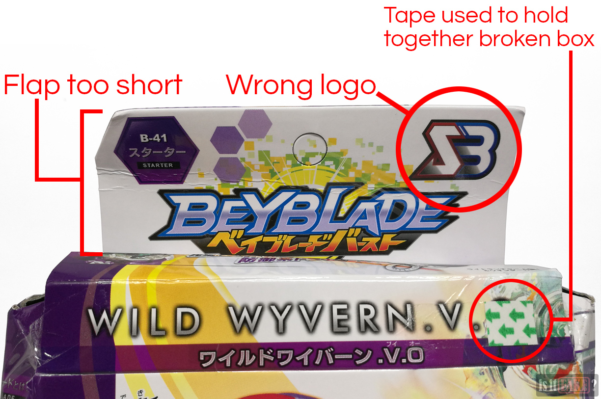 Close-up of fake Beyblade's box, front flap