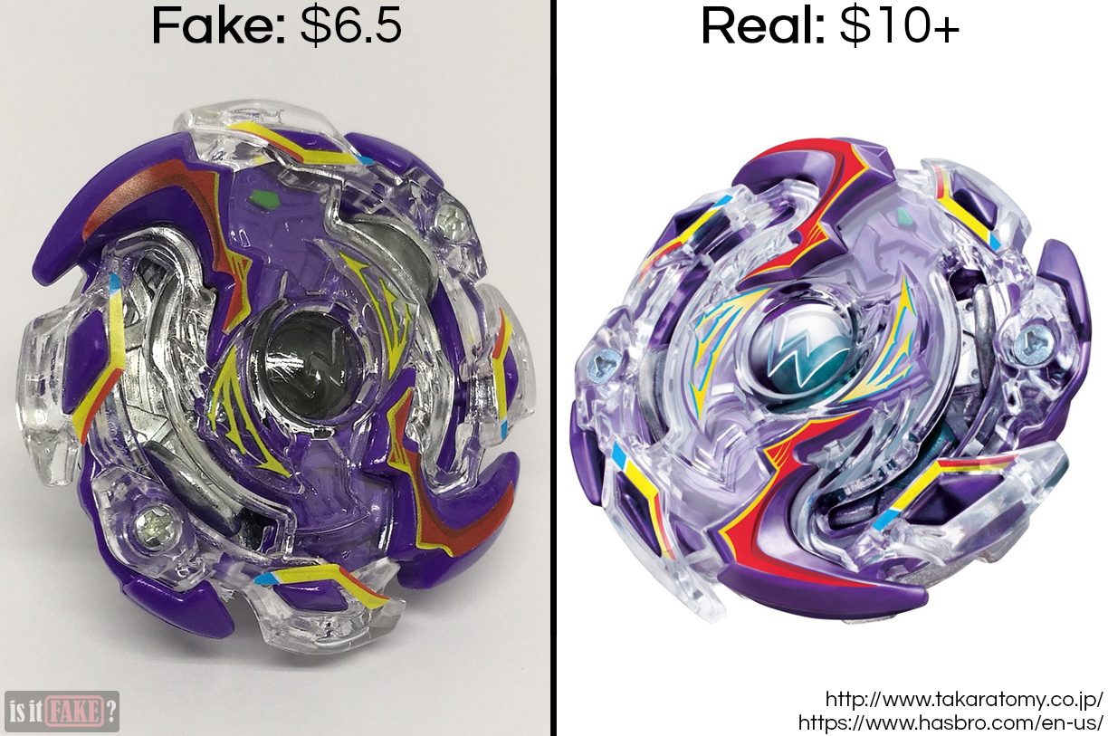 Fake vs. official Beyblade Burst Wild Wyvern V.O., with difference in prices shown