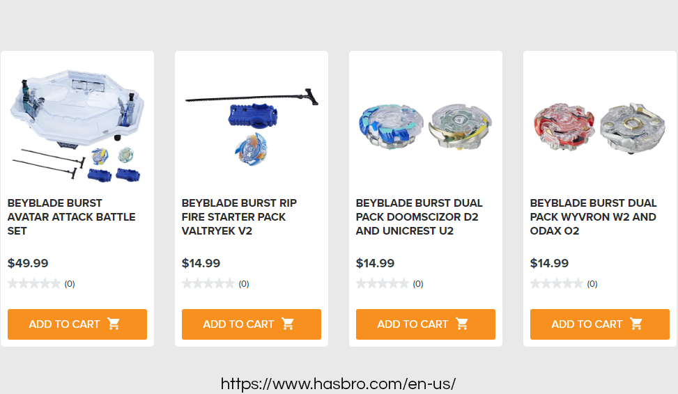 Official Beyblade products on official Hasbro online store