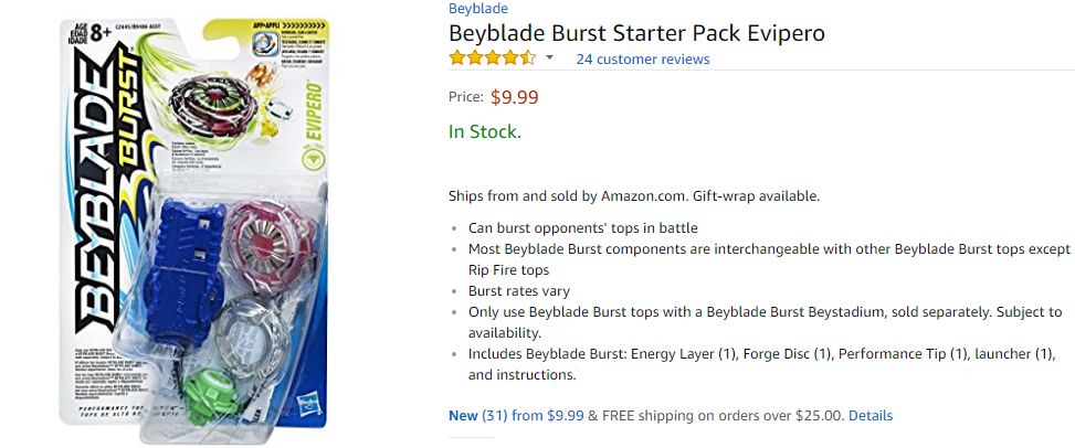 Official Beyblade Burst Starter Pack Evipero product on Amazon