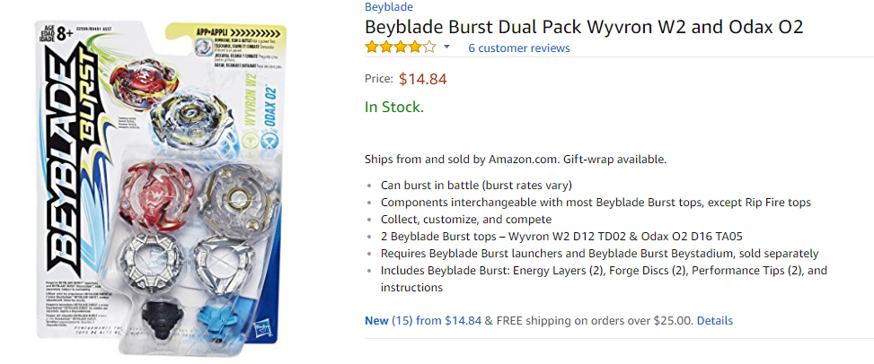 Official Beyblade Burst Dual Pack Wyvron W2 and Odax 02 on Amazon